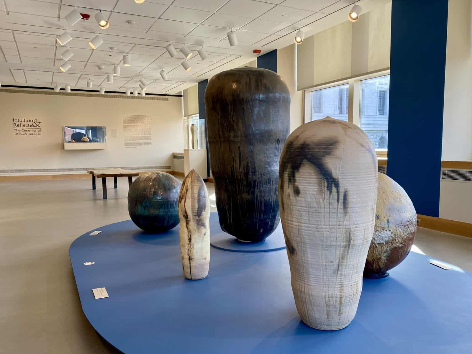 sculptures displayed in art museum