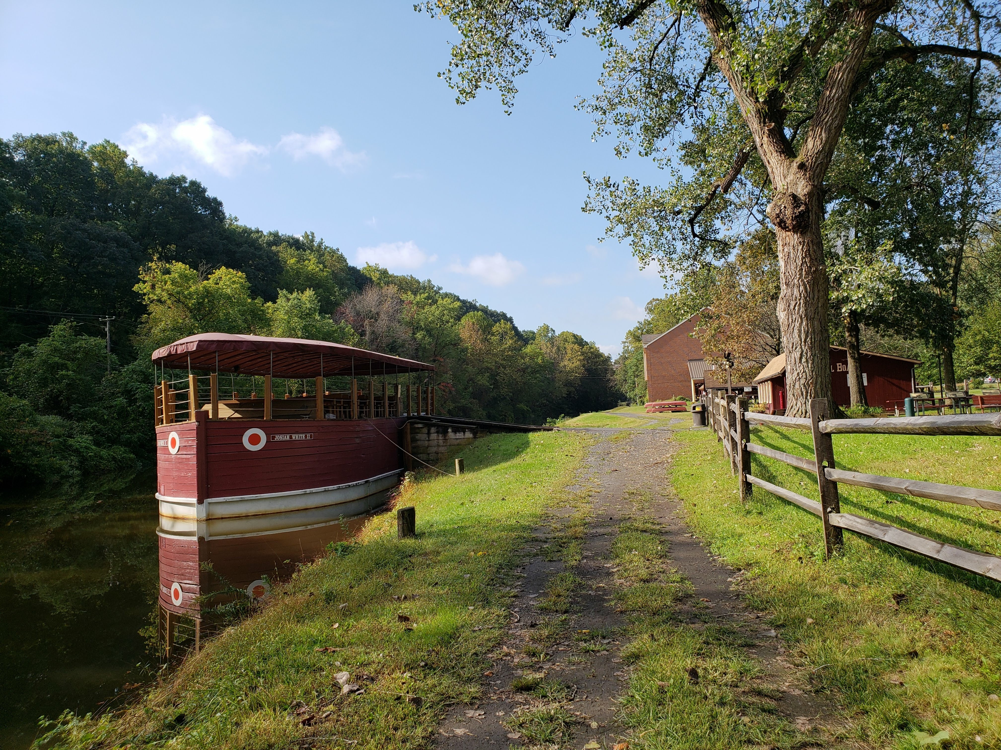 canal boat moored on Lehigh River at National Canal Museum